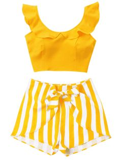 Ruffle Striped Shorts Two Piece Set - BEE YELLOW L Two Piece Outfits Shorts, Crop Top Outfits, Outfits For Teens, Summer Outfits, Cute Outfits, Princes Dress, Crop Tops, Cute Baby Clothes, Striped Shorts
