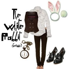 AIW -- White rabbit Thrift store vest w/ tulle on the bottom, grey leggings, red blazer, ears, and pocket watch. Pantomime, Halloween Party, Halloween Costumes, Party Costumes, Halloween 2019, Halloween Ideas, Happy Halloween, White Rabbit Costumes, Alice In Wonderland Costume