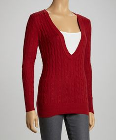 Take a look at this Red Cable Deep V-Neck Sweater - Women by Ami Sanzuri on #zulily today!