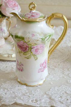 antique limoges chocolate pot   Stunning Antique Coronet Limoges Chocolate Pot