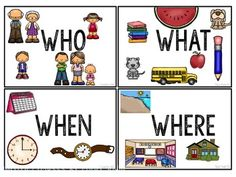 This freebie is a set of 4 cards for WHO, WHAT, WHEN, and WHERE with picture…
