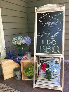 I DO BBQ! Engagement Party, Americana, 4th of July, Red white and blue, welcome sign, Chalk board, Seattle wedding, Seattle Events By: Sweetand Petite Party Designs