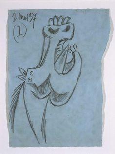 Estudio para la cabeza de caballo (I). Dibujo preparatorio para «Guernica»