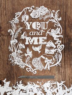 You and Me - DIY Template — MadebyJulene. Papercut Art and Illustration by Julene Harrison Paper Cutting, Papercut Art, Paper Artwork, Paper Collages, Vinyl Paper, Paper Crafts Origami, Stencil Templates, Paper Artist, Kirigami