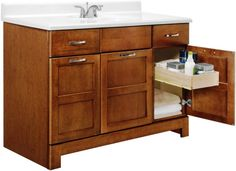 Brown Wooden Vanity Cabinet With Storage Drawer Plus White Round Sink On White Counter Top As Well As Small Bathroom Vanities With Drawers Plus All In One Bathroom Vanities