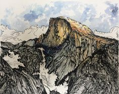"""Print of """"Half Dome"""" painting by Shante Eide. Celebrating the granite Half Dome of Yosemite National Park. https://www.etsy.com/listing/512278956/half-dome-giclee-fine-art-print-8x10"""