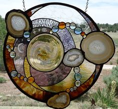 "Already Sold!!!!!! Stained Glass Window, "" SUPERNOVA  ""  Brazilian Agates,  Rondel, Sandcarving, Contemporary Southwest, Stained Glass Panel"