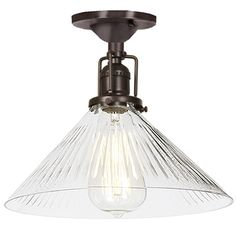 Ribbed Glass Cone Industrial Ceiling Light