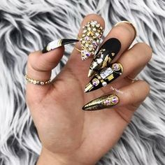 Your Highness Egyptian Royal Black Gold Swarovski Crystal Nails Simple Nail Art Designs, Easy Nail Art, Nail Designs, Egyptian Nails, Black Gold Nails, Black And White Marble, Luxury Nails, Bling Nails, Dope Nails