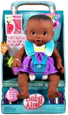 """Hasbro Year 2009 Baby Alive 12 Inch Doll - WHOOPSIE DOO (African American Version) with Baby Doll, 2 Packets of Doll Juice Mix, 2 Diapers, Rattle and T-Shirt by Hasbro. $34.99. Kicking and cooing, """"peeing"""" and """"pooping"""" - your Whoopsie Doo doll is just like a real baby!"""
