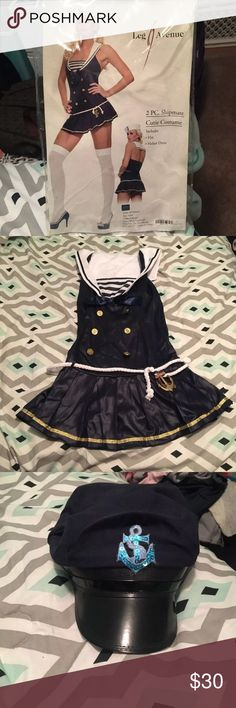 """Shipmate / sailor Halloween Costume. Worn once. Size S/M. The sailor hat didn't stay on my head, so I took the anchor off and put it on a different hat. I was more of a """"captain"""" if you will. Dresses Mini"""
