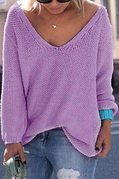 Classic Design Purple Loose Plunge Sweater - US$19.95 -YOINS