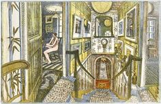 'Staircase to the Library' (artwork by Richard Bawden, Bircham Gallery) Staircase Outdoor, Poster Prints, Art Prints, Posters, Staircase Design, Printmaking, Illustrators, Screen Printing, Gallery