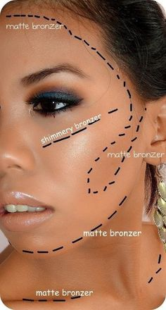 """How to apply Younique bronzer. Create the """"3"""" on each side of your face."""
