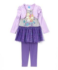 Purple Frozen Dress & Leggings - Toddler & Girls Elsa and Anna sparkly tutu tunic, cardigan and matching leggings #frozen  #girlsgiftideas