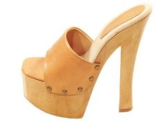 SHOES CANDY TAN HIGH HEEL WOOD PLATFORM SLIP ON MULES SANDALS CLOGS