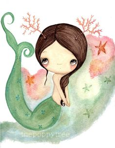 Mermaid Print Nautical Starfish Girl Wall Art---Coral The Mermaid 11 x 14