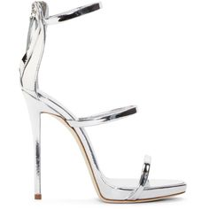 Giuseppe Zanotti Silver Coline Heeled Sandals (2.730 BRL) ❤ liked on Polyvore featuring shoes, sandals, heels, sapatos, shooting argento, heeled sandals, open toe sandals, silver high heel sandals, silver strappy sandals and high heel sandals