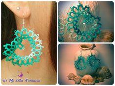 Tatting heart earrings, totally handmade!! ;)                                                                                                                                          Orecchini a forma di cuore, completamente handmade lavorati con la tecnica del chiacchierino :)