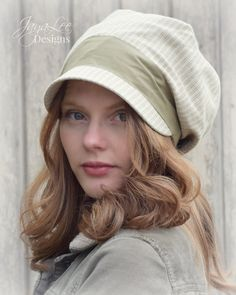 Slouchy Linen/Cotton Fabric Beanie Newsboy Hat by Jaya Lee.  This slouch beanie style cap is perfect for summer. Made from linen and cotton