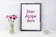 Frame mockup with lilac daisies. Wedding Card Templates
