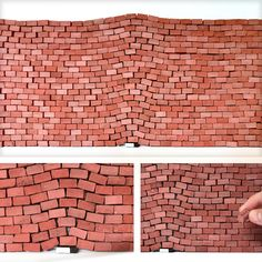 """I recreated """"The Impact Of A Book"""" by Jorge Mendez in Miniature brick Installation, 2018 : Art Red Bricks, Amazing Art, Art Pieces, Miniatures, Outdoor Decor, Book, Scale, Internet, Home Decor"""