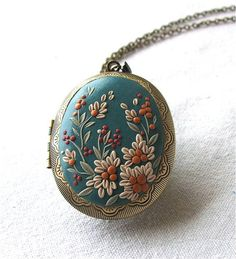 Turquoise Locket Necklace Floral Locket Necklace Flower Necklace Turquoise Fashion Necklace Polymer Clay Locket Pendant Gift for Woman  MADE TO