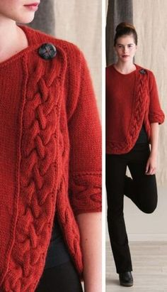 Lovely shape/design for a cardigan. Sweater Knitting Patterns, Knitting Designs, Knitting Stitches, Knit Patterns, Knitting Projects, Hand Knitting, Crochet Shirt, Knit Crochet, Knit Jacket