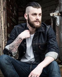 Man is least himself when he talks in his own person. Mens Hairstyles With Beard, Slick Hairstyles, Hair And Beard Styles, Haircuts For Men, Hair Styles, Great Beards, Awesome Beards, Mens Hair Shaved Sides, Viking Haircut