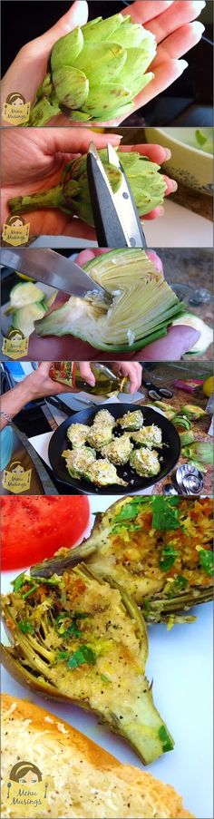 Stuffed Baby Artichokes with Lemon Vinaigrette - step-by-step photos to making these incredible little gems stuffed with Parmigiano reggiano, herbs, garlic, and bread crumbs then baked until tender.  Yum!!
