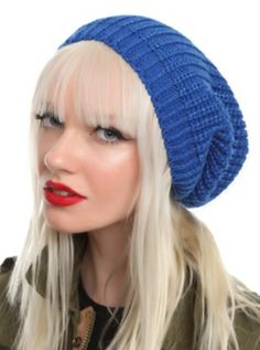 Blue Lurex Slouch Beanie - hot topic