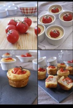 Stuffed Tomato Savory Cakes ~ recipe uses tuna & feta but variations are limitless. sub chicken, changes spices, make it caprese with basil & mozzarella. Tapas, I Love Food, Good Food, Yummy Food, Kreative Snacks, Great Recipes, Favorite Recipes, Salty Foods, Petits Cakes
