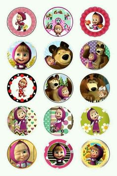 Macha y el oso Baby Girl Birthday, 2nd Birthday, Masha Et Mishka, Marsha And The Bear, Bear Bows, Party Cartoon, Baby Girl Toys, Bear Party, Bottle Cap Images