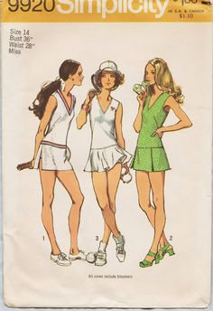 1098baf174 Simplicity 9920 / Vintage 1970s Sewing Pattern / Tennis Dress / Size 14  Bust 36