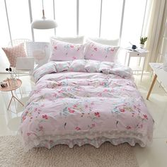Cotton lace bed set duvet cover twin queen king size Bedding set quilt cover bed sheet set bed skirt pillowcases #Affiliate