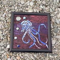 """Mosaic Stained Glass Jellyfish Journey Fantasy Art Mosaic Framed Glass on Glass 10"""" x 10"""""""