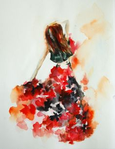 Woman Dancer Original Watercolor Painting Dance Wall by CanotStop, $98.00