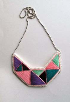 Geometric embroidered necklace in beautiful by AnAstridEndeavor