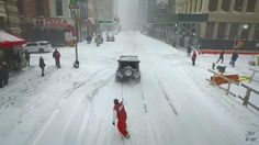 Casey Neistat goes snowboarding during the blizzard