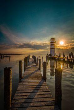 Sunset lighthouse reflection - Seascape