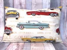 Hot Rod Rockabilly Golden Age cushion cover 16 x 24, Living Room, Home Decor, Cars Cushion Cover by matildasworld15 on Etsy