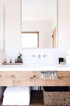 Bathroom Decor marble Bathroom design with wood vanity and white marble backsplash Wood Bathroom, Bathroom Inspo, Bathroom Renos, Bathroom Inspiration, Bathroom Interior, Bathroom Storage, Master Bathroom, Vanity Bathroom, Design Bathroom
