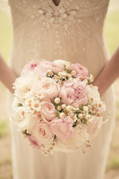 pink and white round bridal bouquet |  Photography by theweddingac.com, florals by https://www.facebook.com/pages/Village-Flower-Shop/361645923891010  Read more - http://www.stylemepretty.com/2013/08/13/pennsylvania-vintage-wedding-from-the-wedding-artists-collective/