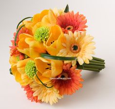 Tulips & Gerberas Yellow and Orange Real Touch Bride's Bouquet