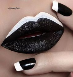 Lip art inspired directly from this nail design. 😎 I use Kohl HD Lip Paint (code and a white theatrical face paint on upper lip that I got from an art store. Lip Art, Lipstick Art, Mac Lipsticks, Lipstick Colors, Lip Colors, White Lipstick, Black White Nails, White Nail Art, Black Lips