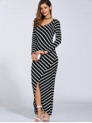 Fall Stripe Print Slit Maxi Dress in Stripe | Sammydress.com Mobile