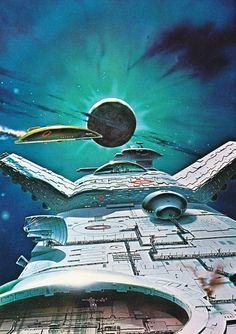 Chris Moore — From the book Dangerous Frontiers, 1980 Fantasy Anime, Fantasy Art, Arte Sci Fi, 70s Sci Fi Art, Science Fiction Books, Pulp Fiction, Futuristic City, Sci Fi Books, Comic Books