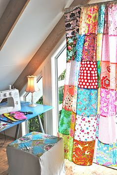 Patchwork curtain tutorial.  Would love to make this; backed with denim for a picnic blanket.