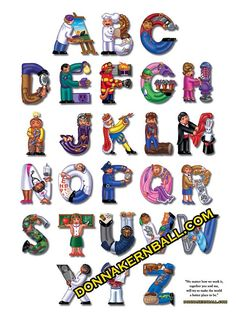 From Artist to Zookeeper, here are all the worker-buddies in one terrific poster! Printed on high-quality paper, it measures 18 x 24 to fit in a standard frame. Comes rolled in a sturdy mailing tube. Rainbow Room, Hand Drawn Lettering, Alphabet Soup, Alphabet Letters, How To Draw Hands, Typography, Frame, Artist, Projects