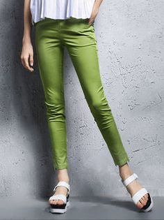 Green Plain Sheath Casual Polyester Skinny Leg Pants